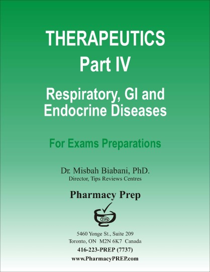 Pharmacy Prep Qualifying Exam Review Therapeutics Part IV- GI Diseases, Respiratory Diseases, Musculoskeletal drugs, Cancer chemotherapy and OTC drugs - Misbah Biabani, Ph.D.